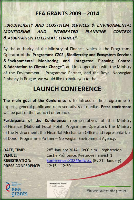 Launch Conference of the Programme CZ02 - Biodiversity and Ecosystem Services (Invitation)